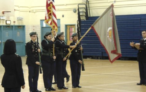 The Revere High School Army JROTC Armed Color Guard Team: CDT Sebastian, Mejia / CDT Jennifer, Salmeron / CDT Karla, Mendoza and CDT Ismah, Khan.