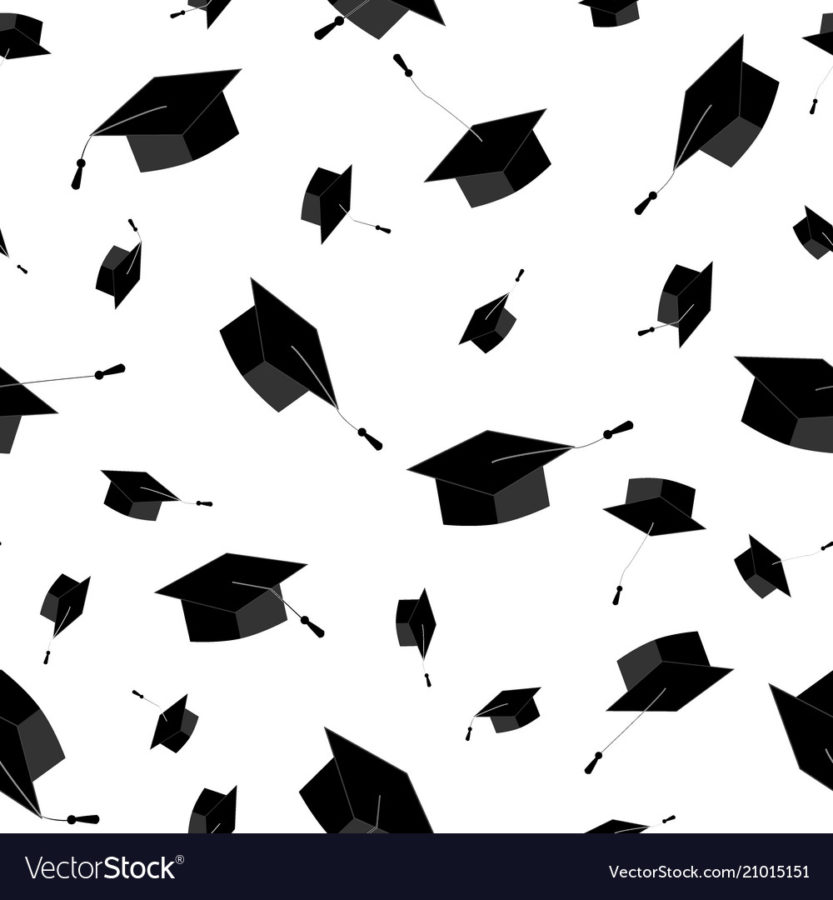 Graduation+caps+fly+in+the+air+in+a+moment+of+celebration.+Seamless+pattern.+Vector+illustration%2C+black+and+white