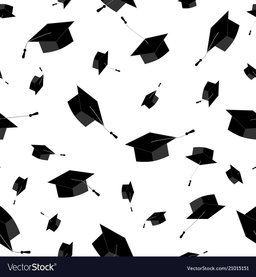 Graduation caps fly in the air in a moment of celebration. Seamless pattern. Vector illustration, black and white